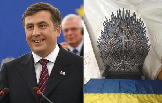 Трон Саакашвили из «Игры престолов» нашли в лагере, где он планировал переворот (фото)