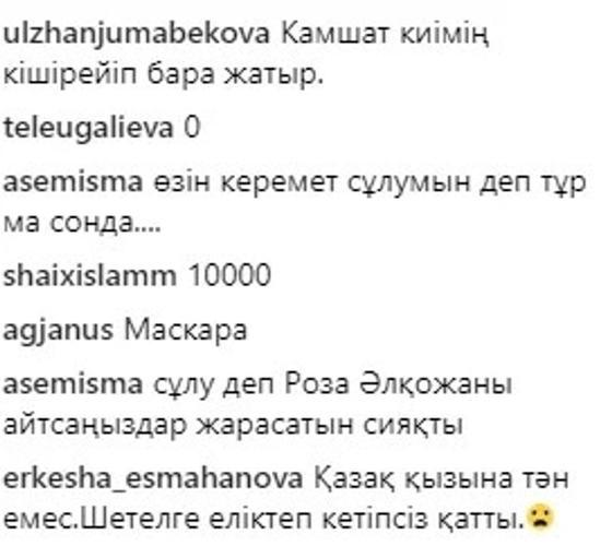 Желі қолданушыларының пікірі. Скриншот:Instagram