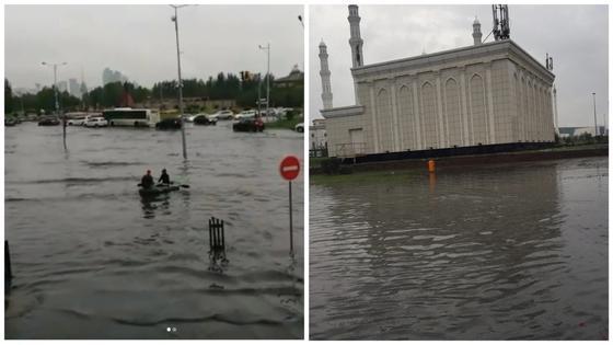 Из-за проливного дождя затопило улицы в Астане