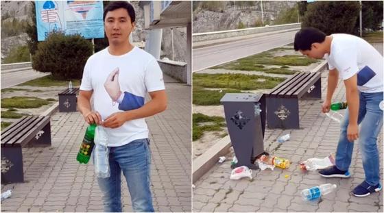 """""""Мы же не свиньи!"""": алматинский миллионер собрал мусор на Медеу (видео)"""