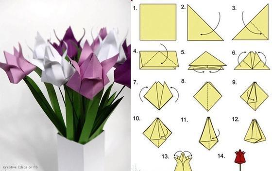 Оригами из бумаги: цветы без клея