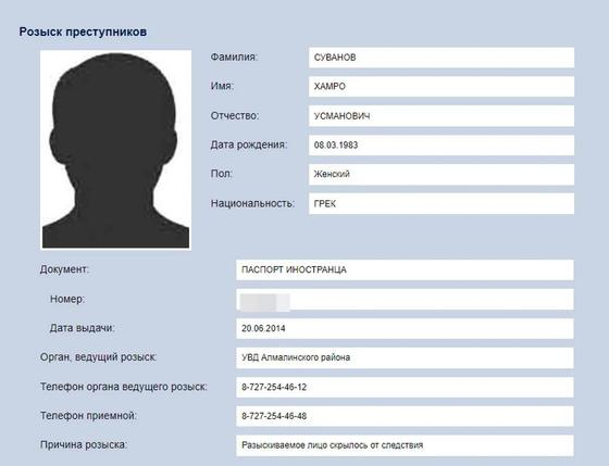 Похищенного Лилией Рах Хамро Суванова объявили в розыск в Казахстане