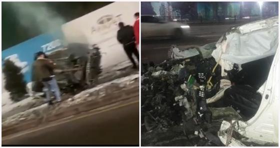 Водитель чудом выжил в жуткой аварии в Алматы (фото, видео)