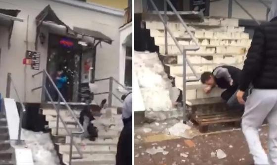 Ледяная глыба с крыши упала на человека в Алматы (видео)