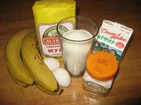 Простой пирог на кефире с бананами ингридиенты