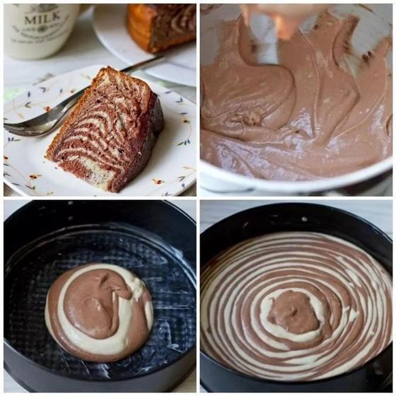 Пирог «Зебра» без сметаны в духовке
