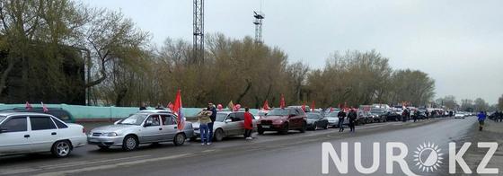 Рекордное количество машин приняло участие в автопробеге в честь 9 мая в Караганде