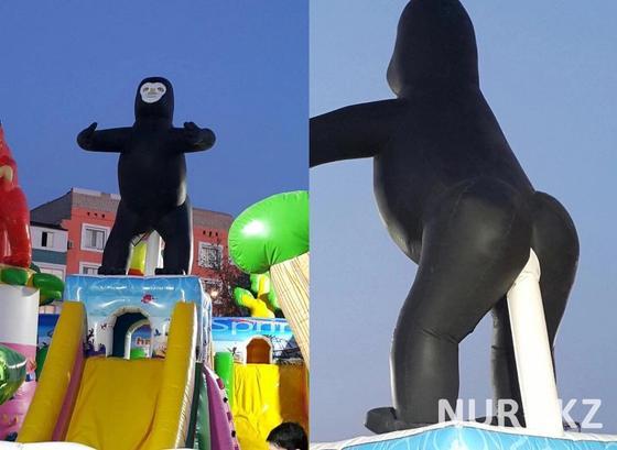Батут с обезьяной вызвал скандал в Кызылорде