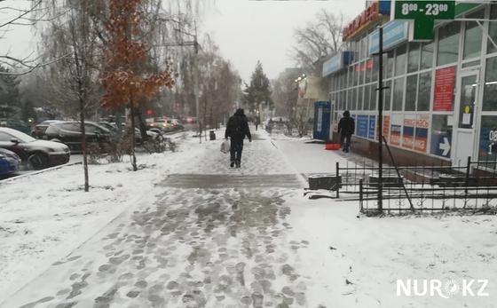 Весенний снег накрыл Алматы (фото, видео)
