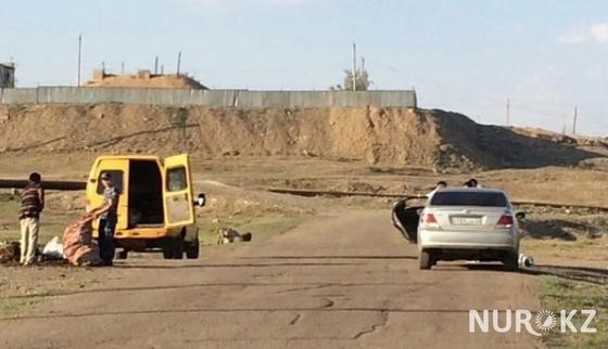 Рога и копыта разбросали сельчане вдоль трассы в Жезказгане
