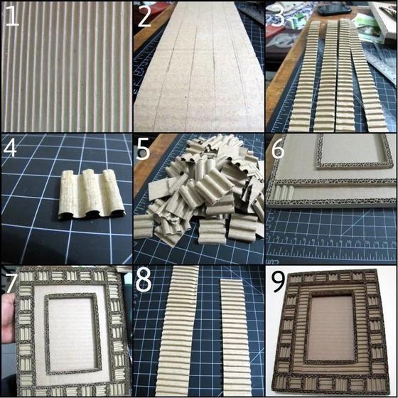 Декорирование фоторамки из картона