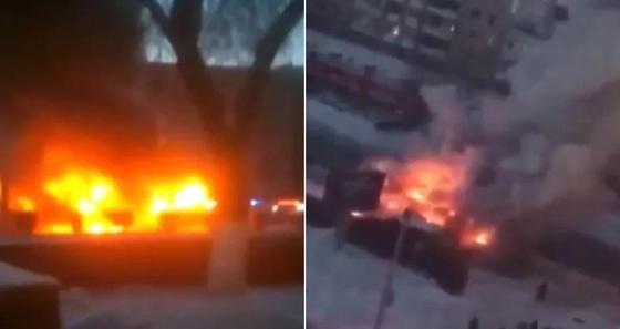 Трамвай полностью выгорел за считанные минуты в центре Павлодара (видео)