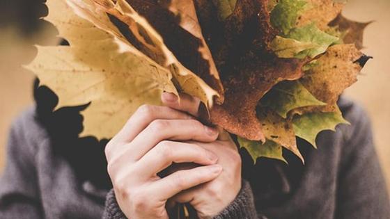 человек держит осенние листья