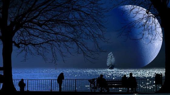 люди в парке смотрят на Луну