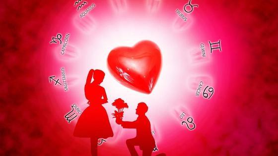 Предложение руки и сердца на фоне зодиакального круга