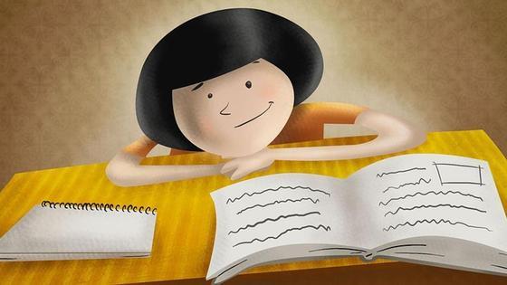 девочка, книга и блокнот