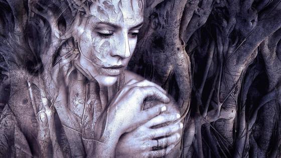 Печальная девушка в древесных корнях (фантазия)