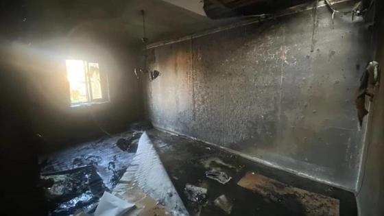 Сгоревшая комната дома