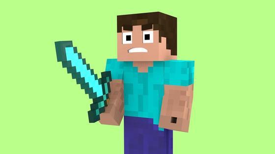 Игровой персонаж из Minecraft с мечом в руке