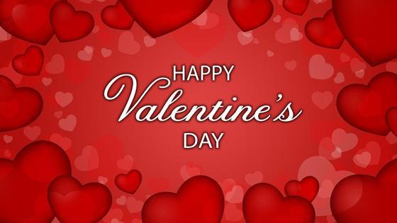 Поздравление с Днем святого Валентина на фоне красных сердечек