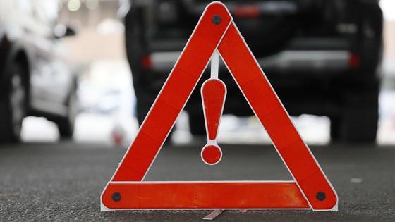 Предупреждающий знак на месте аварии