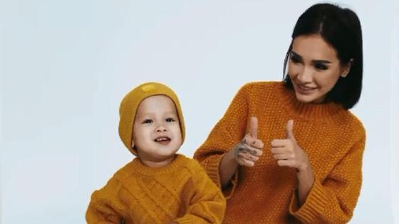Айжан Байзакова с сыном Аланом