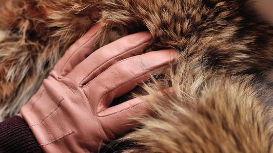 Рука в перчатке трогает шубу