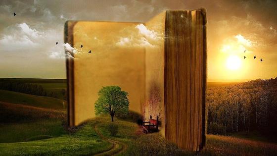 открытая книга и пейзаж