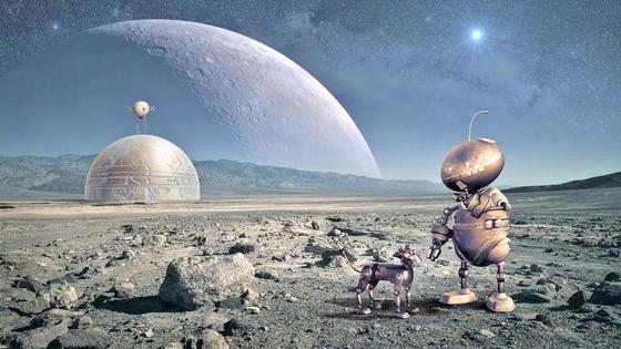Робот с робособакой на чужой планете