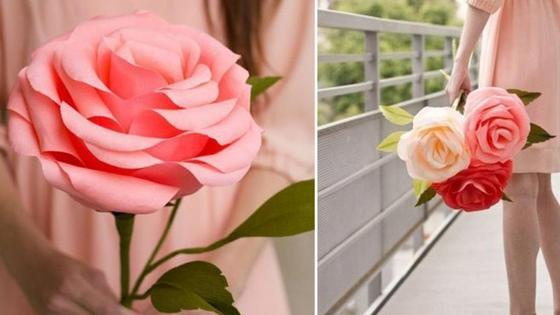 девушка с бумажными розами