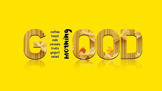 надпись good morning на желтом фоне