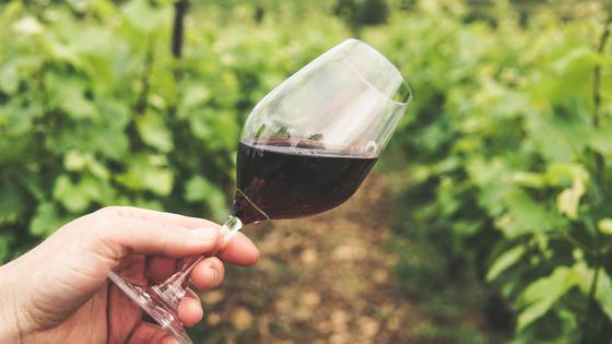 Стакан вина в руке