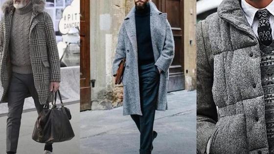Мужское модное пальто на моделях