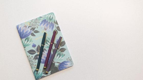 Блокнот с растительными принтами в сине-голубых расцветках и сверху лежат три разноцветные ручки