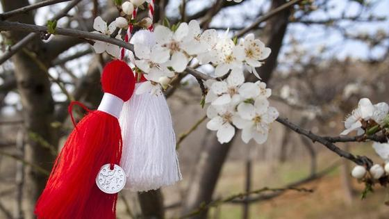 цветущая ветка дерева и украшения из ниток