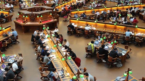 Студенты занимаются в общественной библиотеке