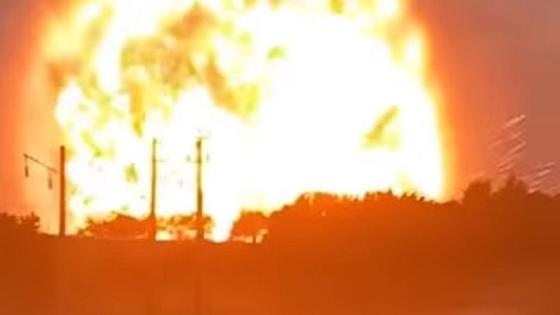 Момент взрыва на складе в Жамбылской области