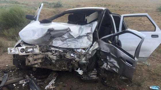 Один из автомобилей после столкновения
