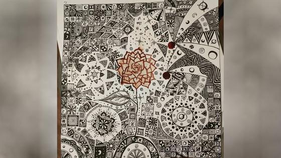 Картина Марии Агаповой, написанная кровью