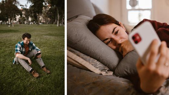 Интернет-переписка между сидящим на газоне парнем и девушкой, лежащей в кровати