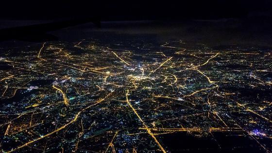 Ночная Москва с высоты птичьего полета