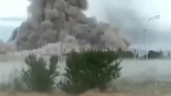 Огромный столю дыма над местом ЧП в Жамбылской области