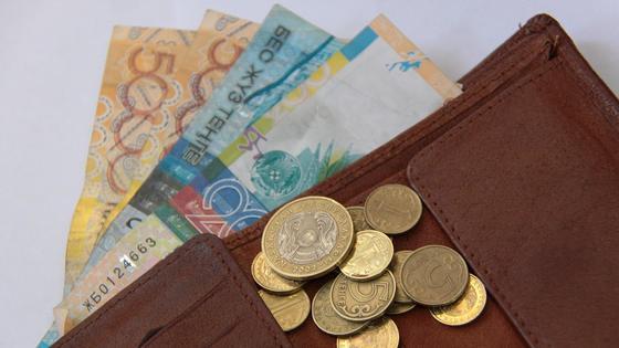 В кошельке лежат купюры и монеты тенге