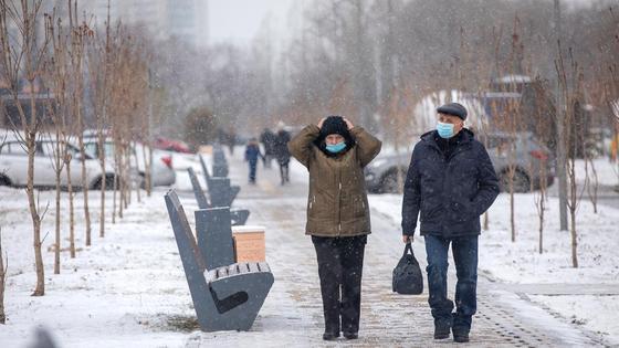 Два человека гуляют по заснеженной улице