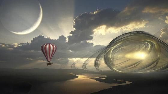 месяц, воздушный шар и пейзаж