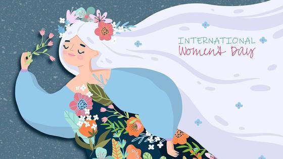 Поздравление с Международным женским днем. Женщина в веночке с цветами в руках