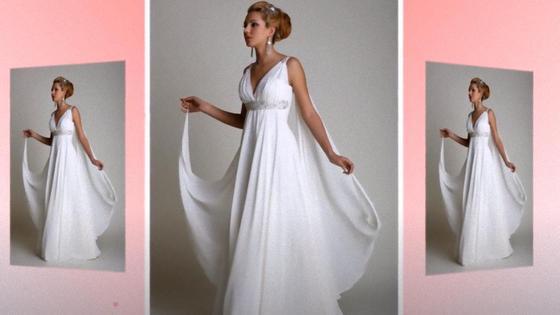 Девушка в свадебном платье в греческом стиле