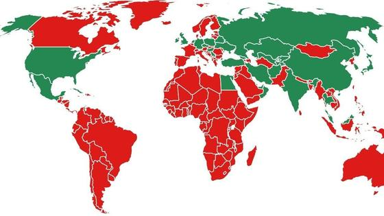 Карта мира во время пандемии коронавируса
