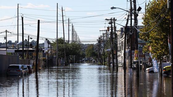 Затопленные улицы в Нью-Джерси