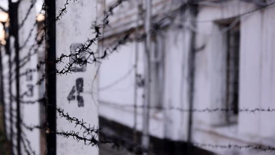 Колючая проволока на заборе